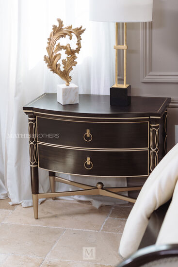"28"" Contemporary Nightstand in Bronzed Ebony"