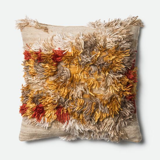 """Contemporary 22""""x22"""" Cover w/Poly Pillow in Camel/Sunset"""