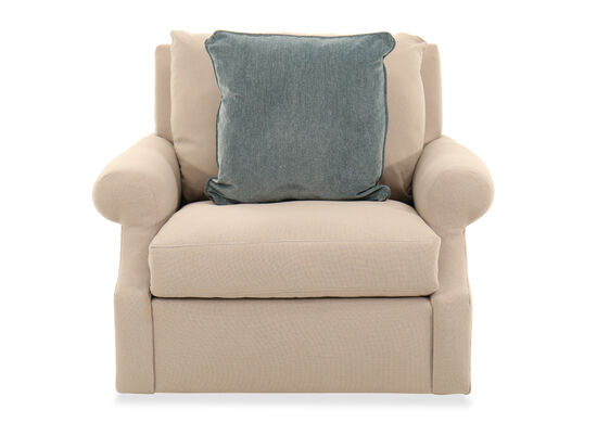 """Roll Arm Casual 43"""" Chair in Beige"""