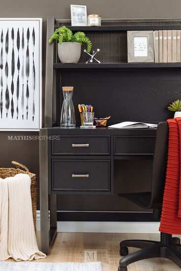 Transitional Three-Drawer Youth Desk with Hutch in Gray
