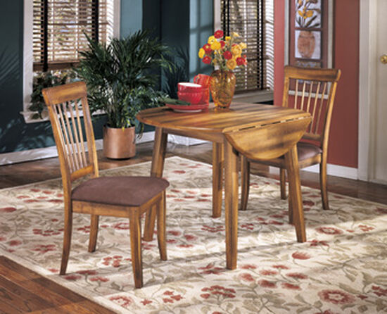 """Transitional 42"""" Drop Leaf Dining Table in Medium Brown"""