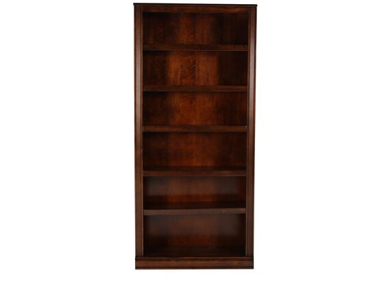 Traditional Adjustable Shelf Open Bookcase in Brown
