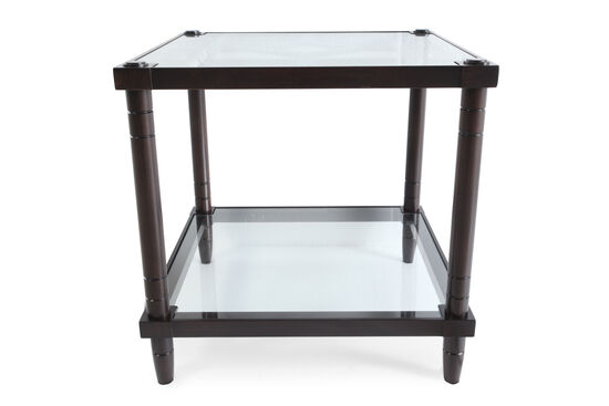 Glass-Insert Traditional End Table in Raven