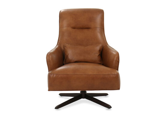 Casual Tufted Leather Swivel Chair in Caramel