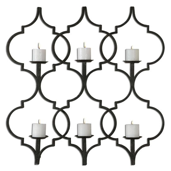 Trellis Distressed Candle Wall Sconce in Aged Black