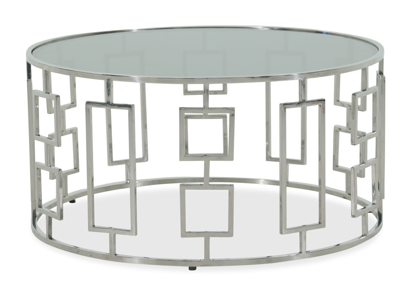 Round Geometric Base Modern Cocktail Table In Silver Mathis - Geometric base coffee table