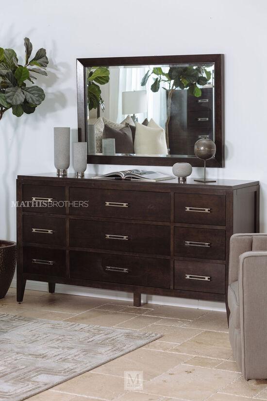 Transitional Nine-Drawer Dresser in Brown