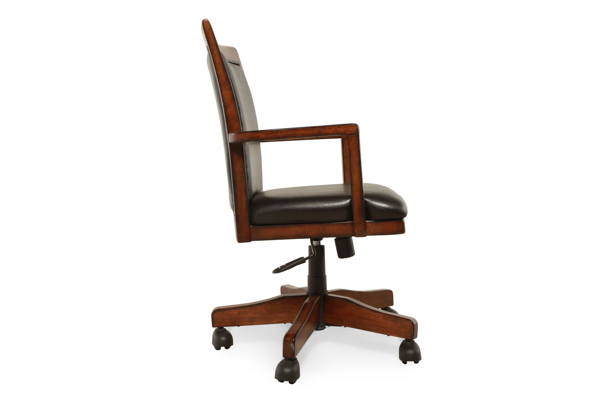Casters Leather Swivel Office Chair In Medium Brown Mathis Brothers Furniture