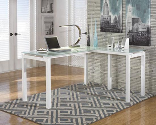 """61"""" Glass-Top Contemporary L-Desk in White"""