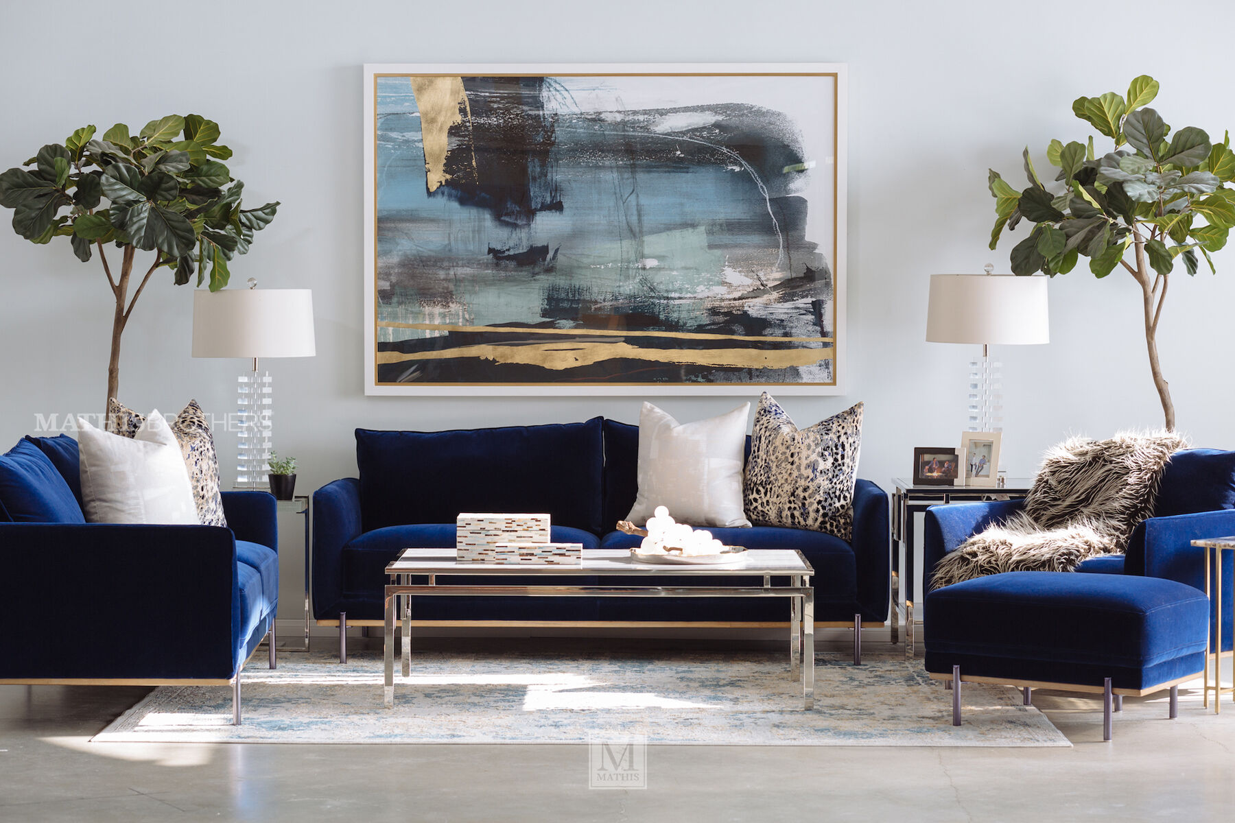 Casual Velvet Sofa In Blue Casual Velvet Sofa In Blue