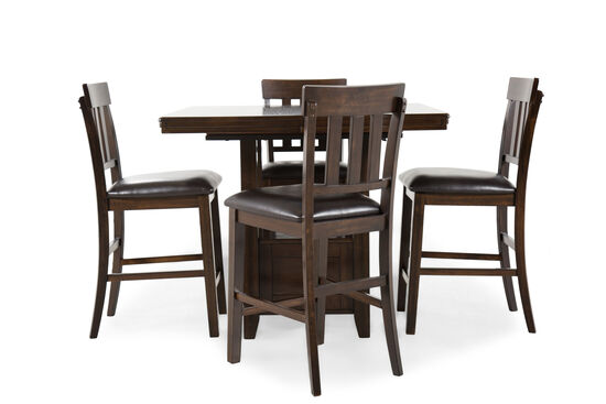 "Five-Piece Casual 36"" Counter Set in Dark Brown"
