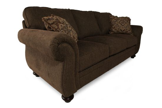 """Traditional Corduroy 89"""" Sofa in Brown"""