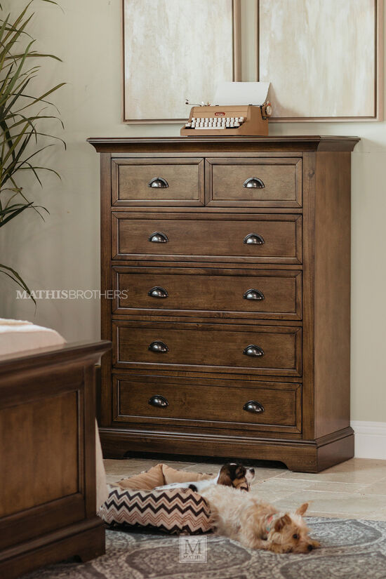 Contemporary Six-Drawer Chest in Dark Brown