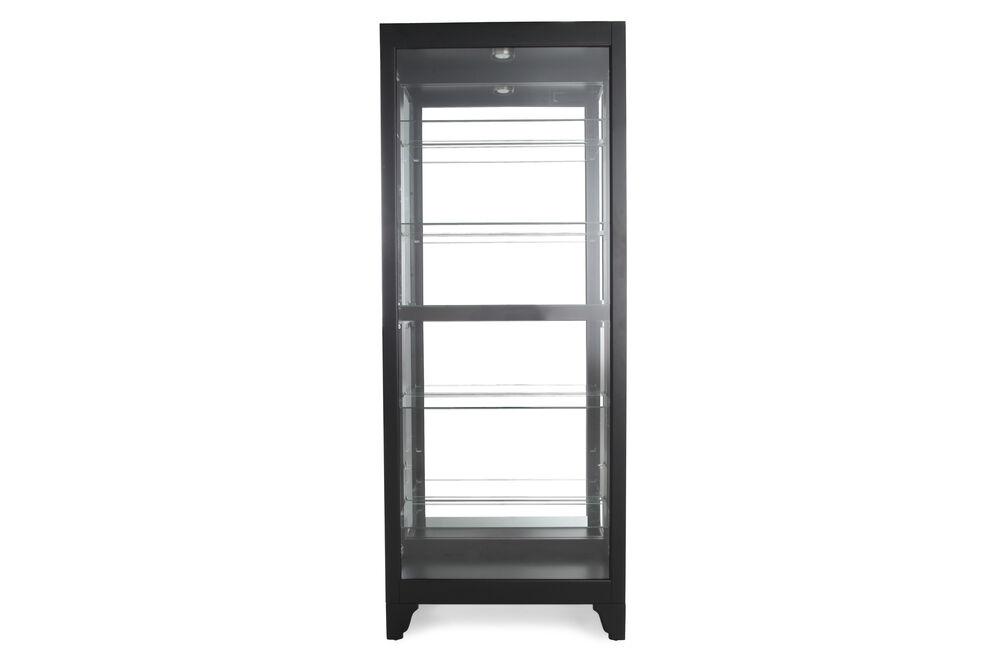 Glass Shelf Contemporary Curio with Halogen Lights in Deep Black Onyx