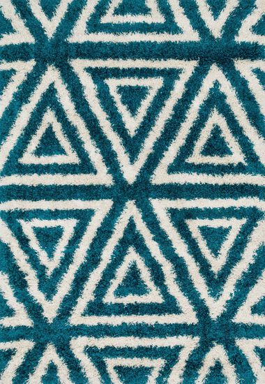 "Contemporary 3'-9""x5'-6"" Rug in Blue/Ivory"