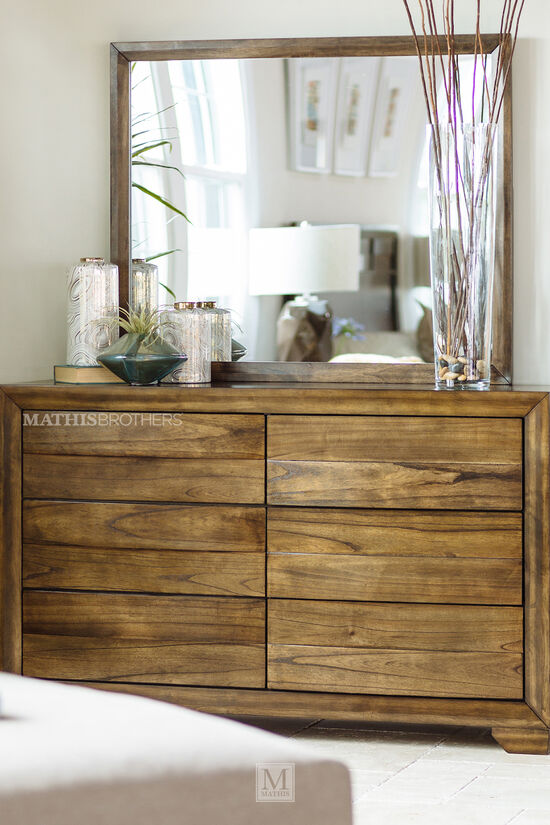 Two-Piece Wooden Dresser and Mirror in Brown