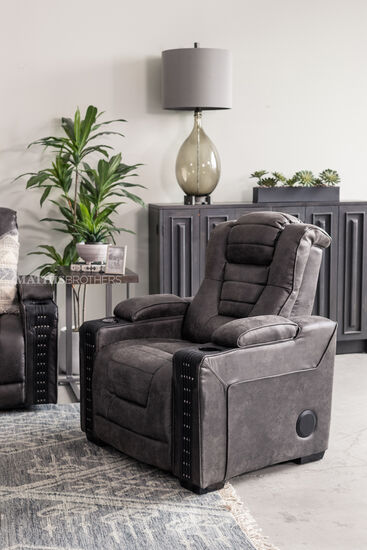 Contemporary Nailhead-Accented Power Recliner in Charcoal