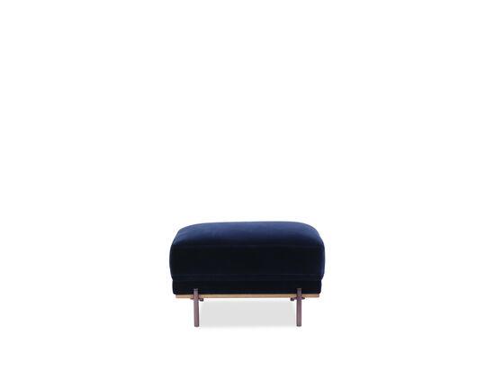 Rectangular Velvet Ottoman in Blue