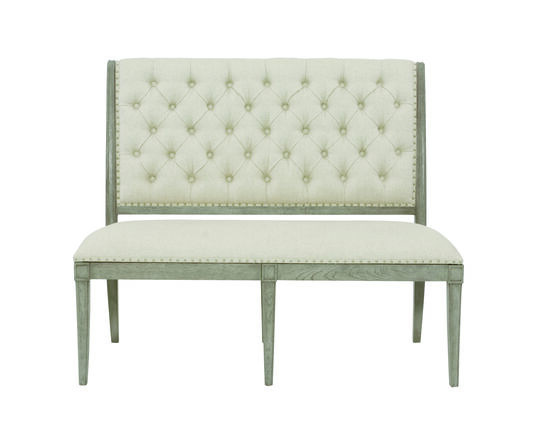 "Button Tufted 51"" Accent Bench in Green"