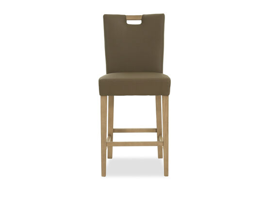 Casual Leather Counter Stool in Gray