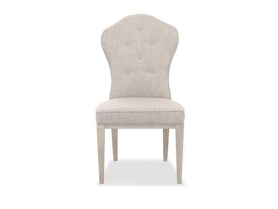 Buttoned-Back Contemporary 41'' Side Chair in Oatmeal