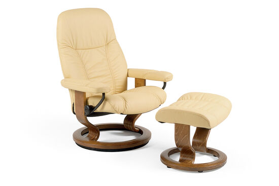 Contemporary Small Chair and Ottoman in Latte