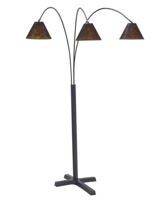 Contemporary Three-Arm Arc Floor Lamp in Matte Black
