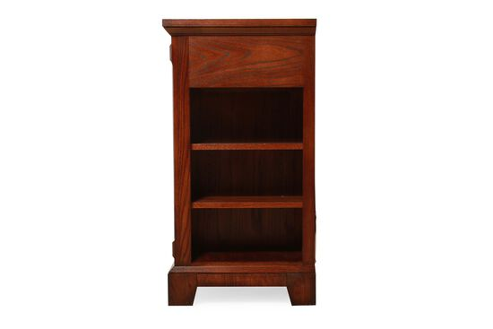 One-Drawer Transitional Media Base in Rich Brown Cherry
