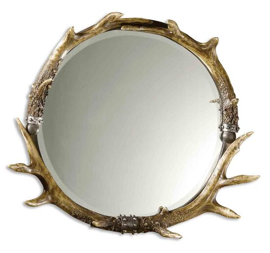 24'' Stag Horn Round Mirror in Brown