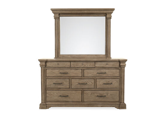 Traditional Ten-Drawer Dresser & Mirror in Griege