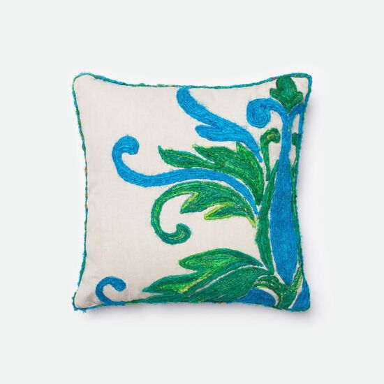 "Contemporary 18""x18"" Cover w/Poly Pillow in Green/Blue"