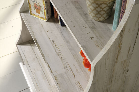 Two-Shelf Casual Accent Bookcase in White Plank