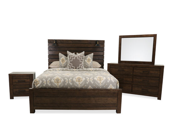 Four-Piece Industrial Queen Bed Suite in Brown