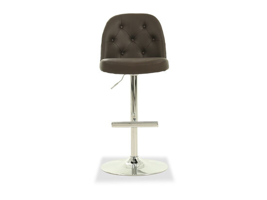 Leather Button Tufted Bar Stool in Brown