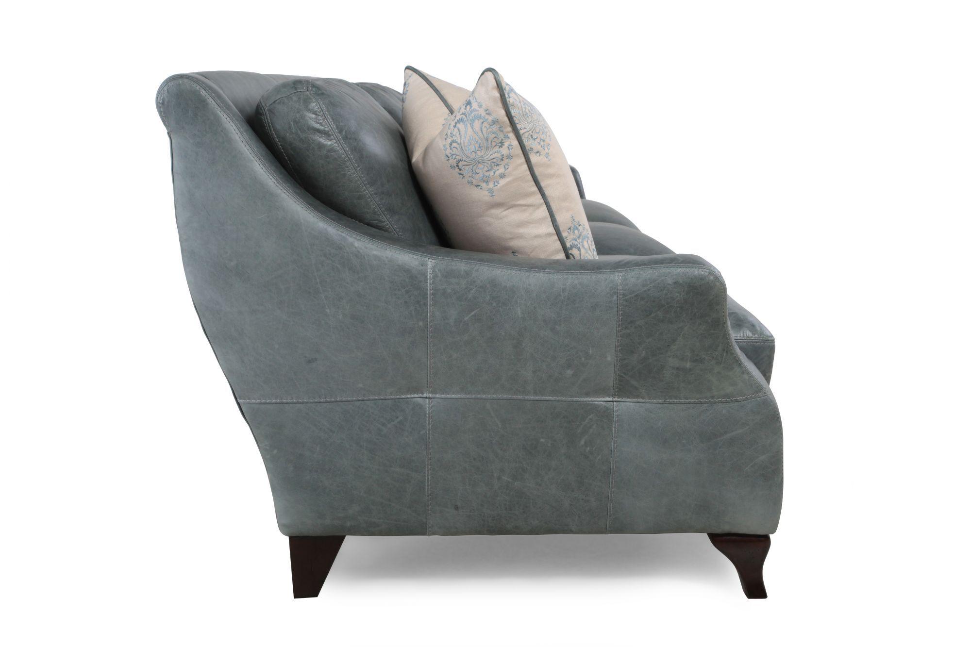 ... Distressed Leather Sofa In Teal. U2039 U203a