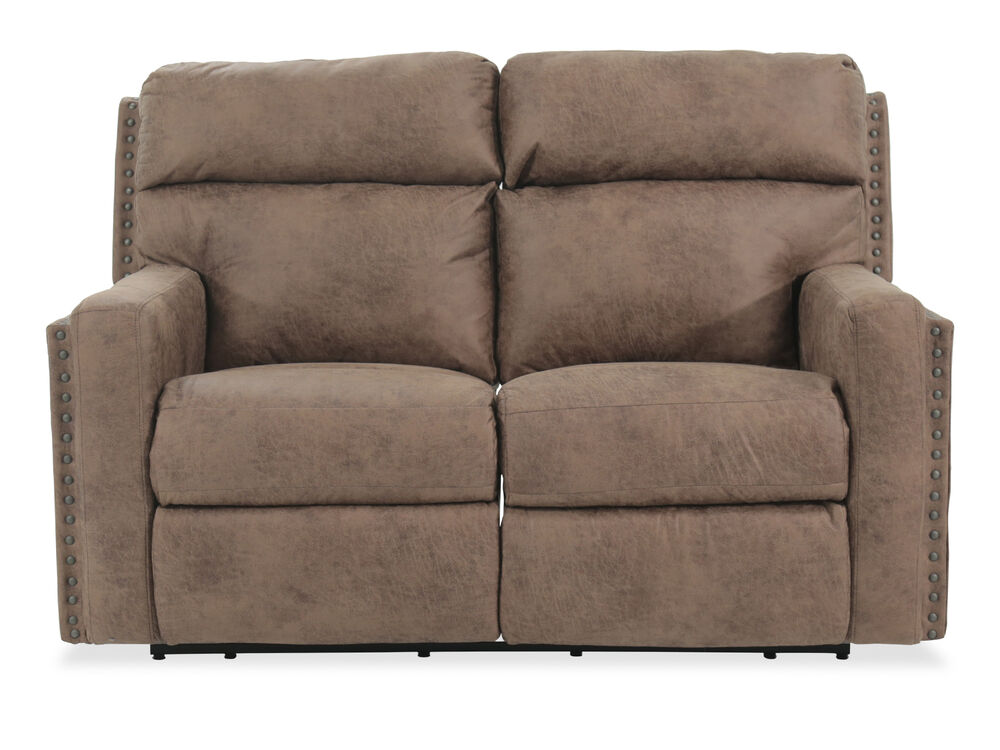 Reclining Casual Leather Loveseat in Brown