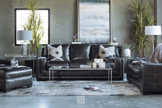 "Traditional 93"" Leather Sofa in Pewter Gray"