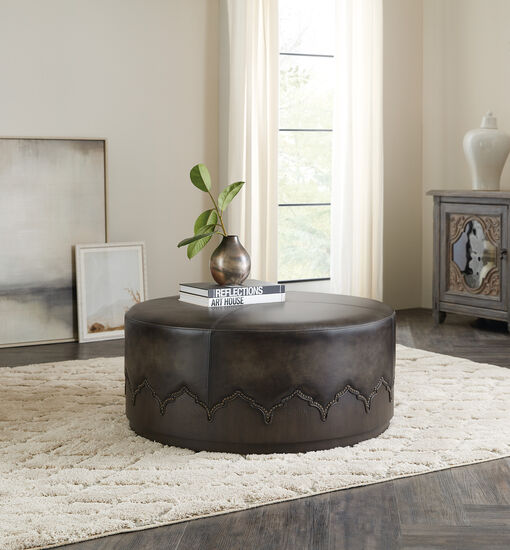 Miles Cocktail Ottoman W/ Casters in Brown