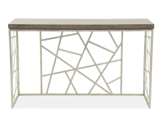 Geometric Base Transitional Sofa Table in Smoked Gray