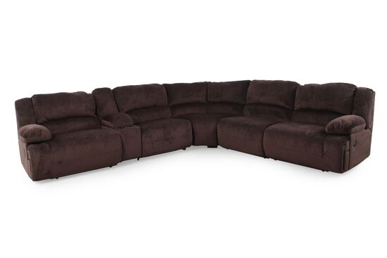 """Microfiber 131.5"""" Sectional in Chocolate Brown"""