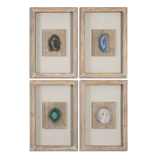 Four-Piece Agate Stone Framed Wall Art in Light Brown