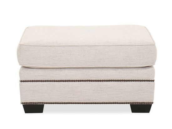 Nailhead-Accented Contemporary 33'' Ottoman in White