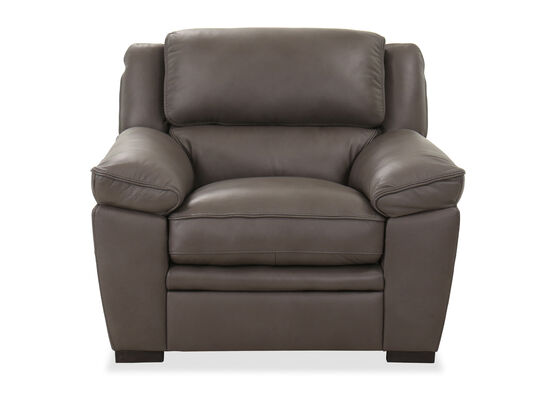 Casual Leather Chair in Charcoal