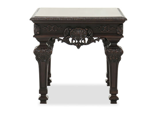 Traditional Square End Table in Dark Brown