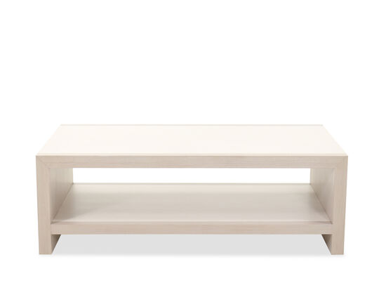 Transitional Rectangular Cocktail Table in Linear White