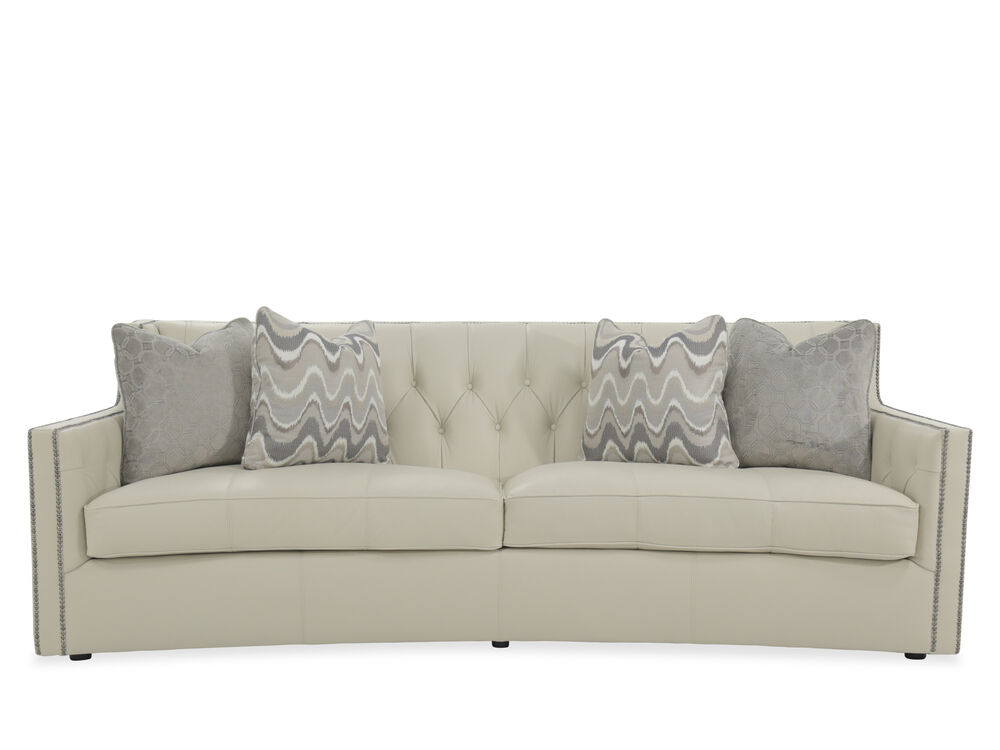 On Tufted 96 Leather Sofa In Light