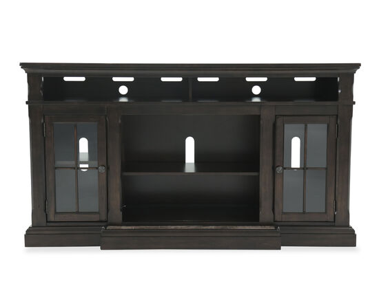 Glass Door Transitional TV Stand in Dark Brown