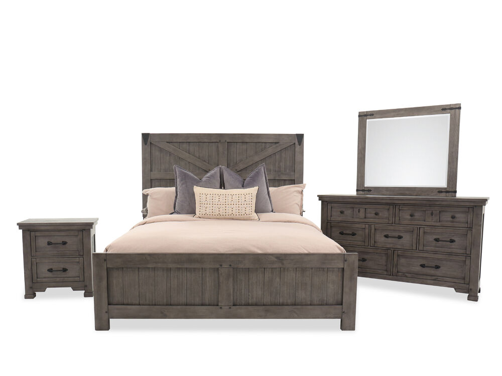 Four-Piece Rustic Farmhouse Bedroom Suite in French Gray