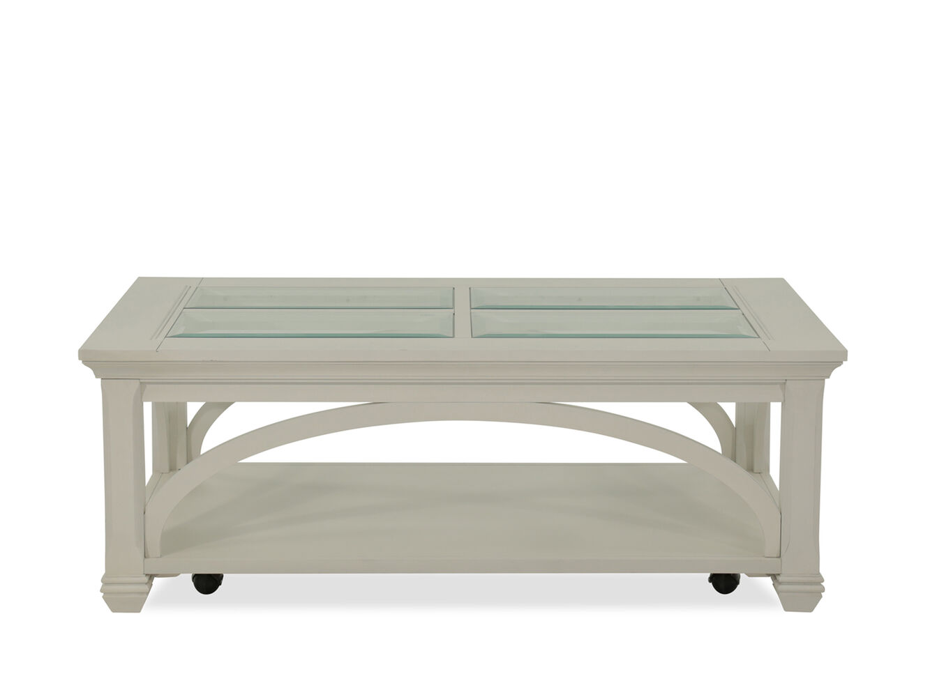 Rectangular Traditional Cocktail Table In Light White Mathis Brother Furniture