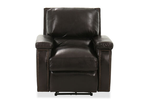 Nailhead-Trimmed Leather 37'' Power Recliner in Primo Smoke